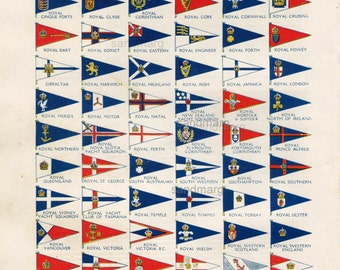 Vintage Chart of 78 Yacht Flags of the Yacht Clubs of the World