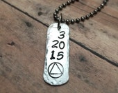Sobriety Necklace, AA Symbol Pendant, Recovery Jewelry, Sobriety Anniversary Date, Personalized Necklace, One Day at a Time Sober Gift, NA