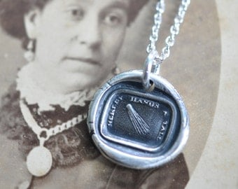 comet wax seal necklace ... hereby hangs a tale - fine silver antique wax seal jewelry