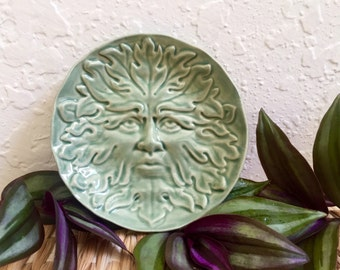 Greenman Dish Ceramic Trinket Dish,  Stoneware Pottery, Jewelry Holder Hawthorn Green Man Woodland, Soap Dish