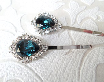 Sapphire Blue Bridal Hair Pins with Swarovski Crystal on Strong Bobby Pin for Vintage Art Deco Hair Style Navy Victorian Wedding Headpiece