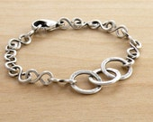 Sterling Silver and Fine Silver Bracelet, Wire Work, Everyday Bracelet, Infinity Chain, Figure Eights, Casual, Layering Bracelet, #3497