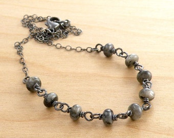 Larvikite Necklace, Norwegian Moonstone, Gray and Black Gemstones, Wire Wrapped, Oxidized Sterling Silver, #4661