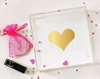 Heart - Gold Foil Heart Tray - Valentine's Day - Heart Tray - Valentine's Day Gift - Valentine - Love - Jewelry Organizer