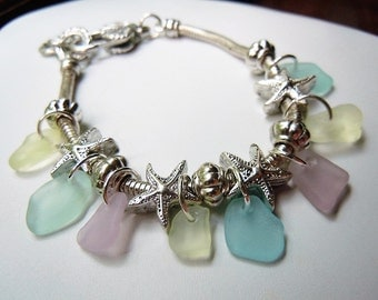 Sea Glass Bracelet, Starfish Pastel Genuine Beach Glass Jewelry Seaglass Charm Bracelet