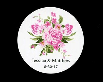 """Personalized Wedding Stickers - 2"""" Round Stickers - Bridal Shower Stickers - Pink Floral - Stickers for Favors"""
