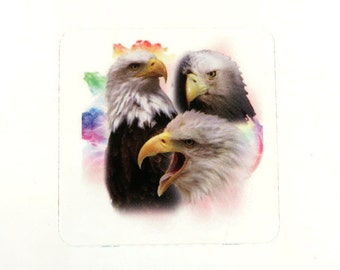 4 Sticker Decal, Eagle Trio, Indian Style, Strapbooking, Decoupage, Collage, Altered Art, Mixed Media Supply 38mm, 4 pc