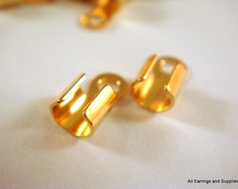 24 Gold Cord Ends 10x5mm fits 2-4mm Cord Gold Plated Brass - 24 pc - 6264-16