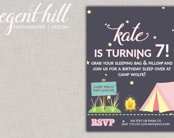 Printable Girls Camping Party, Camping Birthday Invitation, DIY, Glamping, Printable camp birthday invite, Camping invitation