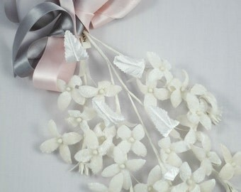 Vintage Ivory Velvet Flower Branch for Bridal, Headpieces, Headbands, Boutonnieres, Bouquets, Millinery