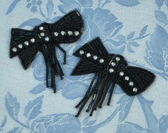 2 Black Bow Appliques With Rhinestones For Bridal, Millinery, Dress Making, Art Nouveau Style, Deco, Flapper