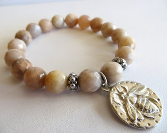 Sunstone Energy Bracelet With Sterling Bee Charm