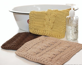 CROCHET PATTERN - Cable Sampler Dishcloths - Instant Download (PDF)