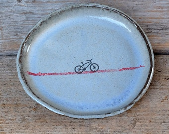 Rustic Blue Oval Side Plate with Red Line and Mountain Bike