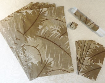 PLACEMAT SET - 18 Pieces - Palm Leaves in Soft Earth Tones - Item TLS929002