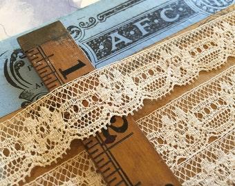 "Vintage French Cotton Lace Trim (1 yd.~ 3/4"")"