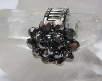 Vintage 1960 Stretch Ring Charcoal Gray Rhinestones Flower Design Statement Ring