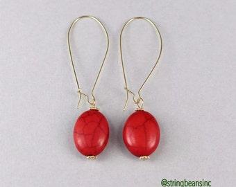 Gold Dangle Earrings  Kidney Design