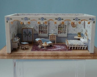 Beautiful Blue 1:144 Inch Scale Bedroom and Boudoir