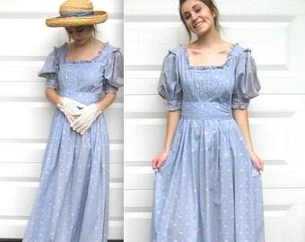 vintage floral Dress . maxi dress . pink rose dress .  Laura Ashley  . Laura Ashley prairie dress . long dress . prairie dress