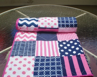 Baby Quilt,Nautical Baby quilt,baby girl quilt bedding,patchwork crib quilt,navy blue,hot pink,chevron,waves.modern,toddler Nautical Gal