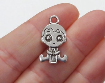 6 Baby Boy Charms (double sided) 13x23x2mm, Hole:Approx 2mm
