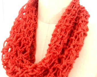 Infinity Scarf Handmade Crocheted Single Loop Coral Lightweight Circle Scarf Women's Scarf READY TO SHIP