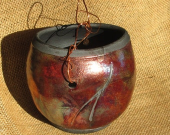 Pottery Vase - Red and Green Iridescent Raku with Copper Handle and Carving Accents - Medium Size