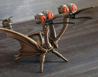 Two-headed Steampunk Dragon Minion Robot