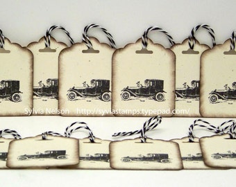 Antique Car Tags...set of 12 Tags...Antique distressed hang tags...gift tags...Christmas gift tags...Birthday tags...hand stamped!