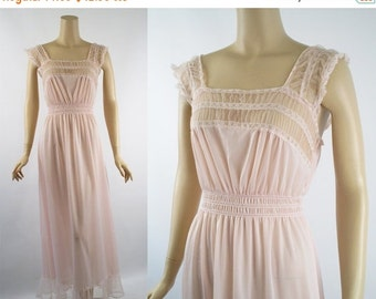 SALE Vintage 1960s Nightgown Pink Nylon and Chiffon Negligee by Luxite Sz 34