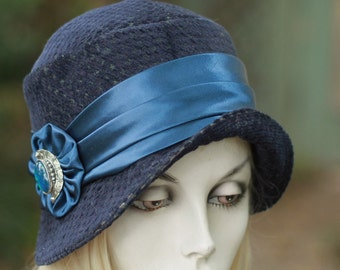 Womens 1920s Trendy Winter Cloche Hat Downton Abbey in Dark Navy Fabric Cancer Patients