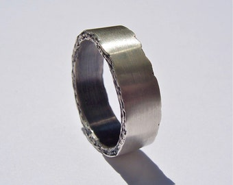 Sterling Silver Rough Edge Band 8mm width
