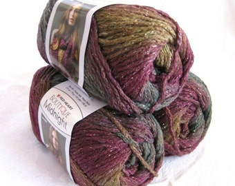 50% off - Boutique Midnight, Wool blend yarn, BROCADE, worsted weight yarn with metallic hints, purple mauve greens mustard