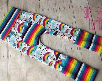 Maxaloones, Emo Rainbow cloth diaper pants, grow with me pants, babywearing pants, sustainable clothing, baby pants, baby leggings