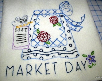 Hand Embroidered Market Day Apron tea-dish towel