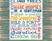 Climb Trees Fun Boy Playroom or Bedroom Digital Print Typography
