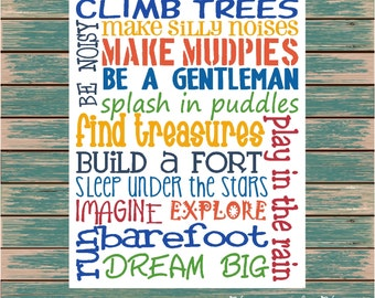 Climb Trees Fun Boy Playroom or Bedroom Digital Print Typography