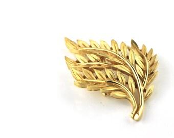 Trifari Gold Leaf Brooch Pin