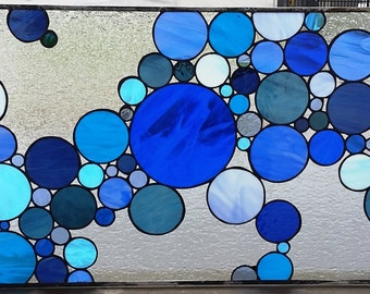 """Stained Glass Window - """"Blue Bubbles"""" (W-92)"""