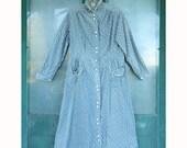 1930s Kenrose Long-Sleeve Farm Kitchen Dress Calico Cotton