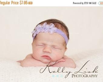 SALE Newborn Baby Headband - Baby Headband- Lavender Sheer Flower Headband- Baby Girl Headband (LS)