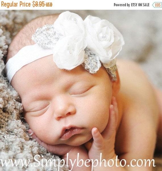 SALE Baby Headband - Holiday Baby Headband White- White Chiffon Flower On A White Shimmery Stretch Headband- Baby Infant Toddler (WB)