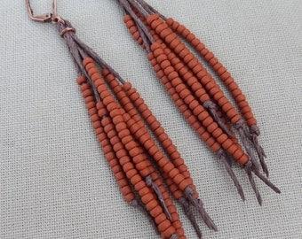 Vegan Feather Hemp Natural Earrings - Copper and Glass - Hippie Bohemian
