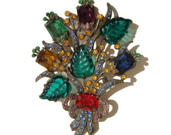"Vintage Czech Brooch Bohemian Gablonz Art Deco Glass Floral Bouquet Pin 4"" Big"