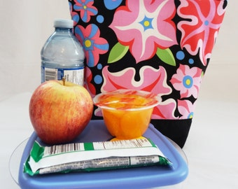 Insulated Lunch Bag, Lunch Tote - Floral