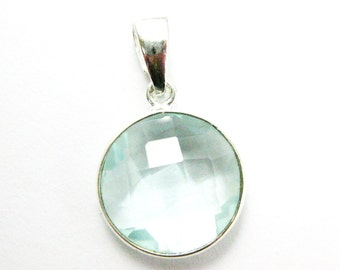 Bezel Pendant with Bail- Aqua Quartz Gemstone Pendant- Sterling Silver Round Coin Gem, Bezel Pendant Ready for Necklace -24mm-601111-AQR