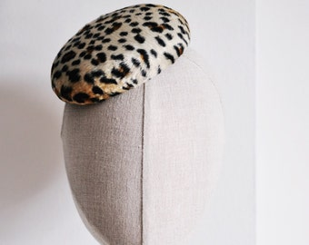 Leopard Print Cocktail Hat Hand Blocked Felt Mini Pillbox Hat Fascinator