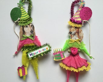 Saluki BIRTHDAY ornaments DOG ornaments vintage style chenille ORNAMENTS set of 2