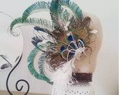 Reserved for Aurore - Custom made  to order -  Peacock Bridal lace headband